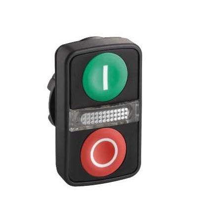 Schneider Electric ZB5AW7A3741 Zelená lícující/červená lícující ovl.hlavice dvoutlač.se signálkou ? 22 s popisem