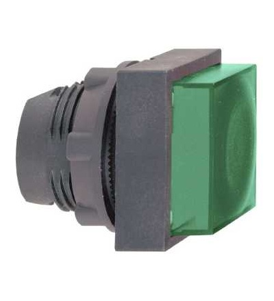 ZB5CW133 Zelená čtver.s přesah.ovl.hlavice stiskací prosvět.? 22 s návratem pro integ.LED, Schneider Electric
