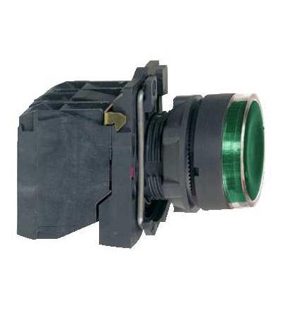 Schneider Electric XB5AW3365 Zelená ovládač stiskací prosvětlený lícující ? 22 s návratem 1Z+1V ?250V