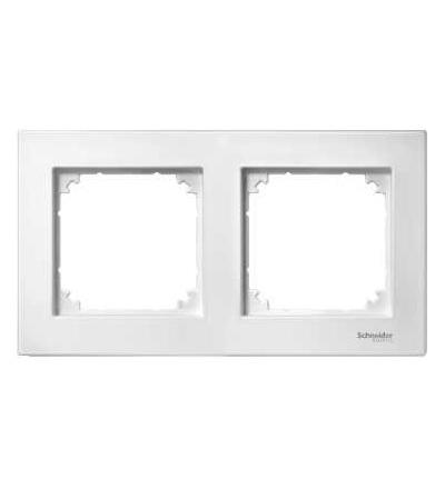 Schneider Electric MTN488219 M-Plan II frame, 2-gang, flush-mounted, polar white