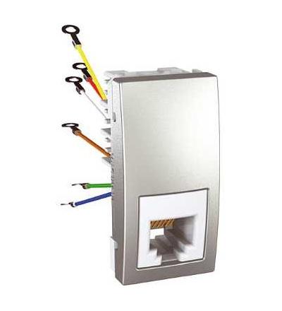 Schneider Electric MGU3.491.30 Zásuvka telefonní RJ12, 6 kontaktů, 1 modul, alu