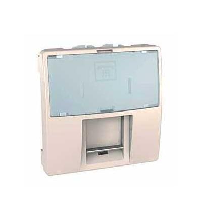 Schneider Electric MGU3.493.25 Zásuvka telefonní RJ12, 6 kontaktů, s clonkou a popisovým polem, marfil