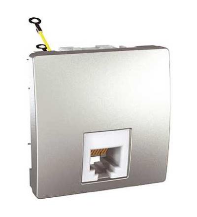 Schneider Electric MGU3.497.30 Zásuvka telefonní RJ12, 6 kontaktů, alu