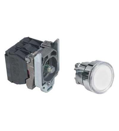 Schneider Electric XB4BW31B5 Bílá ovládač stiskací prosvětlený lícující ? 22 s návratem 1Z+1V 24V