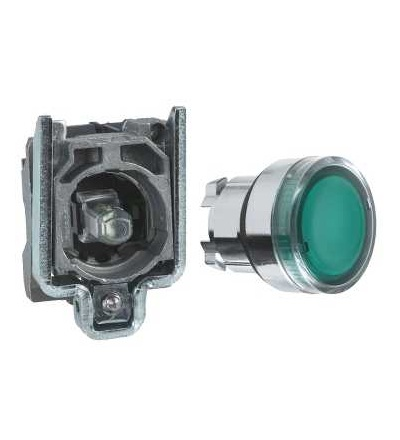 XB4BW33B1 Green flush complete illum pushbutton ? 22 spring return 1NO 24V, Schneider Electric