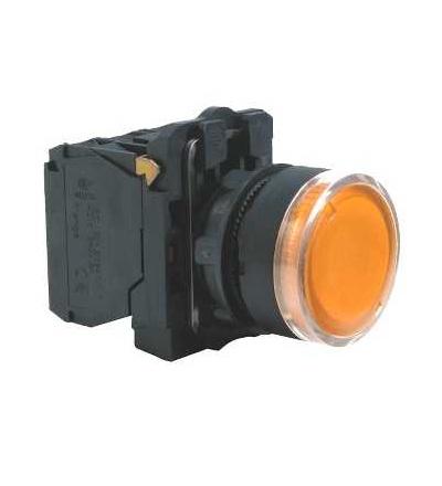 Schneider Electric XB5AW35M5 Oranž. ovl. stiskací prosvětlený lícující ? 22 s návratem 1Z+1V 220...240V