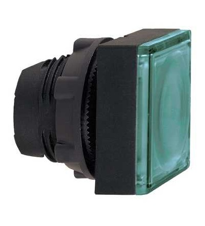 ZB5CW333 Zelená čtvercové zapuš.ovl.hlavice stis. prosvět.? 22 s návratem pro integ.LED, Schneider Electric