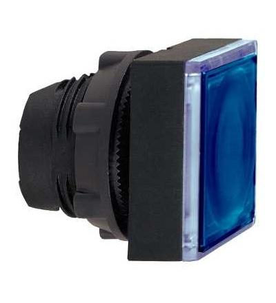 ZB5CW363 Modrá čtver.zapuš.ovl.hlavice stiskací prosvět.? 22 s návratem pro integ.LED, Schneider Electric