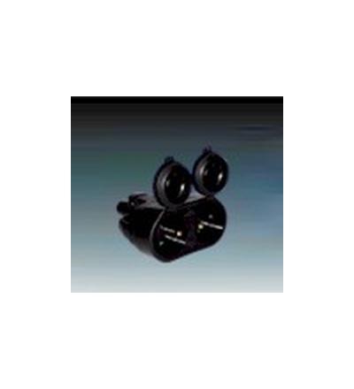 ABB Zásuvka pohyblivá dvojnásobná IP 55 s ochranným kontaktem, s clonkami, s přímým vývodem černá 1.214.83