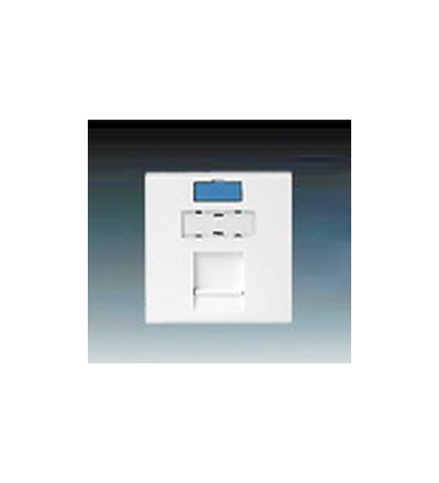 ABB Modul zásuvkový 45x45 se záclonkou, s označovacími ikonkami bílá 1711277-1