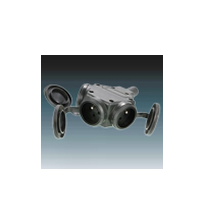 ABB Zásuvka pohyblivá trojnásobná IP 44 s ochranným kontaktem, s clonkami, s přímým vývodem černá 214.85