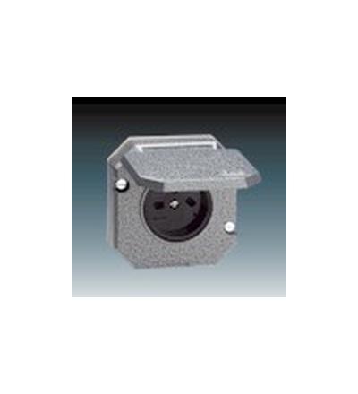 ABB Zásuvka jednonásobná IP 55, s víčkem, vestavná šedá 5515N-C05766