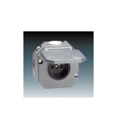 ABB Zásuvka jednonásobná IP 55, s ochranným kolíkem, s víčkem šedá 5518-2750