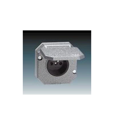 ABB Zásuvka jednonásobná IP 55, s ochranným kolíkem, s víčkem, vestavná šedá 5518-2790