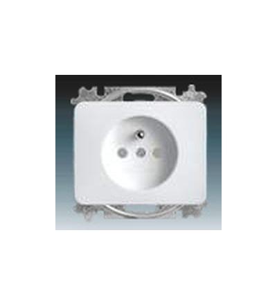 ABB Zásuvka jednonásobná s ochranným kolíkem, s clonkami alabastrová 5519B-A0235724G