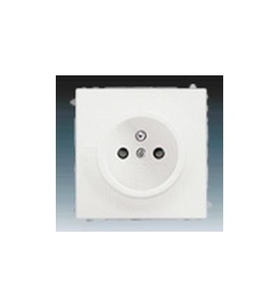 ABB Zásuvka jednonásobná s ochranným kolíkem, s clonkami mechová bílá 5519B-A02357774