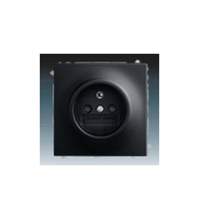 ABB Zásuvka jednonásobná s ochranným kolíkem, s clonkami mechová černá 5519B-A02357775
