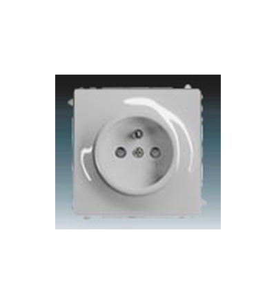 ABB Zásuvka jednonásobná s ochranným kolíkem, s clonkami saténová stříbrná 5519B-A02357783