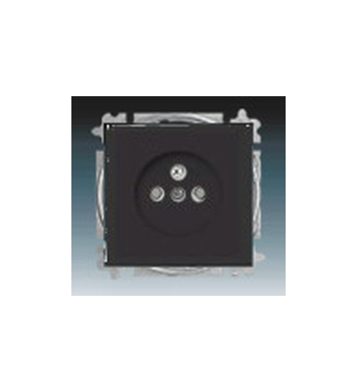 ABB Zásuvka jednonásobná s ochranným kolíkem, s clonkami antracitová 5519B-A0235781
