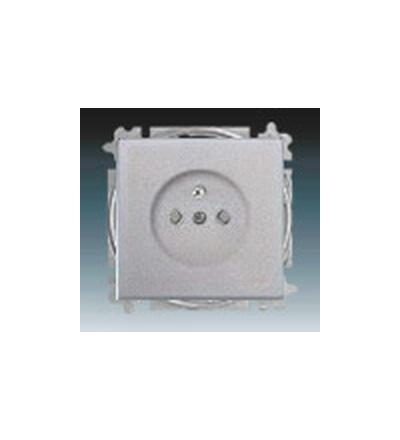 ABB Zásuvka jednonásobná s ochranným kolíkem, s clonkami hliníková stříbrná 5519B-A0235783