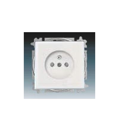 ABB Zásuvka jednonásobná s ochranným kolíkem, s clonkami studio bílá 5519B-A0235784