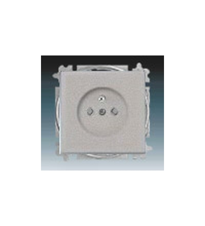 ABB Zásuvka jednonásobná s ochranným kolíkem, s clonkami ušlechtilá ocel 5519B-A02357866