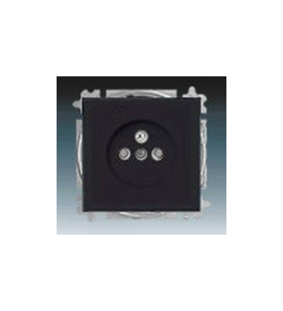 ABB Zásuvka jednonásobná s ochranným kolíkem, s clonkami mechová černá 5519B-A02357885