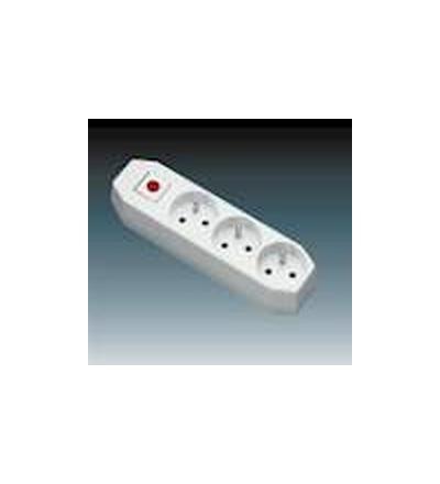 ABB Zásuvka pohyblivá trojnásobná, s ochrannými kolíky, s vypínačem bílá 5545-2004