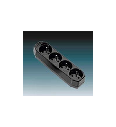 ABB Zásuvka pohyblivá čtyřnásobná, s ochrannými kolíky černá 5546-2000