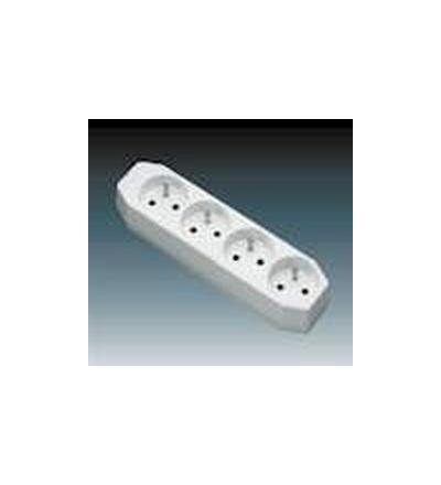 ABB Zásuvka pohyblivá čtyřnásobná, s ochrannými kolíky bílá 5546-2004
