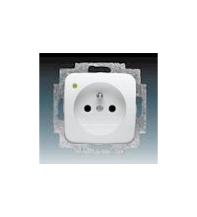 ABB Zásuvka jednonásobná s ochranným kolíkem, se signalizací provozního stavu alpská bílá 5588B-A2349B