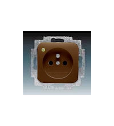 ABB Zásuvka jednonásobná s ochranným kolíkem, se signalizací provozního stavu hnědá 5588B-A2349H