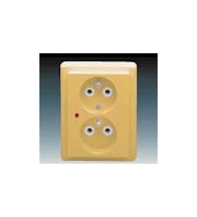 ABB Zásuvka dvojnásobná s ochrannými kolíky, s ochranou před přepětím béžová 5592C-2349D2