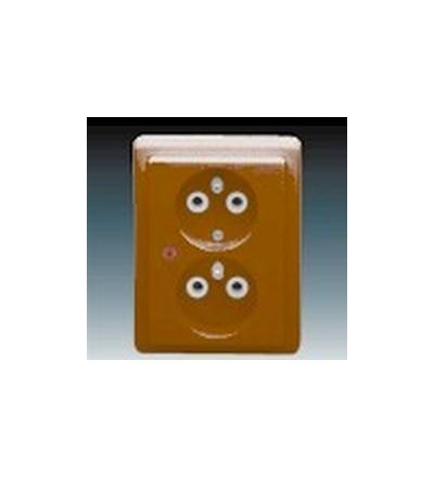 ABB Zásuvka dvojnásobná s ochrannými kolíky, s ochranou před přepětím hnědá 5592C-2349H3
