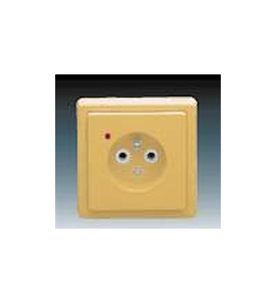 ABB Zásuvka jednonásobná s ochranným kolíkem, s ochranou před přepětím béžová 5597-2389D2