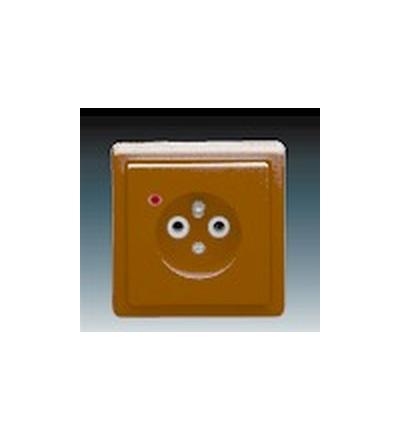 ABB Zásuvka jednonásobná s ochranným kolíkem, s ochranou před přepětím hnědá 5597-2389H3