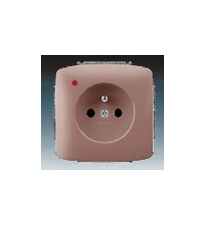 ABB Zásuvka jednonásobná s ochranným kolíkem, s ochranou před přepětím vřesová červená 5598A-A2349R2