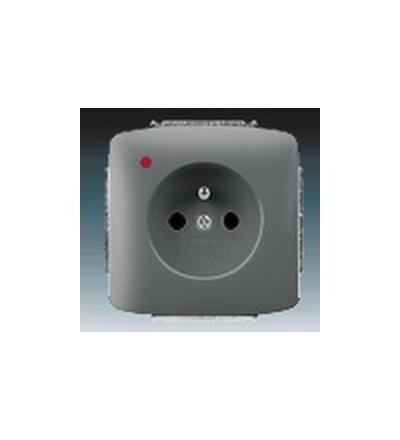 ABB Zásuvka jednonásobná s ochranným kolíkem, s ochranou před přepětím kouřová šedá 5598A-A2349S2