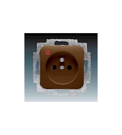 ABB Zásuvka jednonásobná s ochranným kolíkem, s ochranou před přepětím hnědá 5598D-A2349H