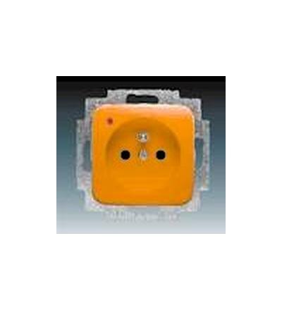 ABB Zásuvka jednonásobná s ochranným kolíkem, s ochranou před přepětím oranžová 5598D-A2349P