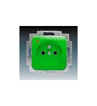 ABB Zásuvka jednonásobná s ochranným kolíkem, s ochranou před přepětím zelená 5598D-A2349Z