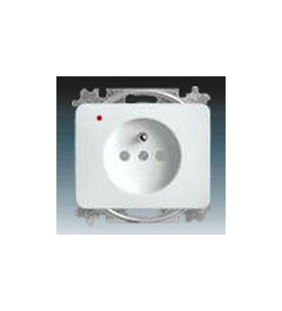 ABB Zásuvka jednonásobná s ochranným kolíkem, s clonkami, s ochranou před přepětím alabastrová 5599B-A0235724G