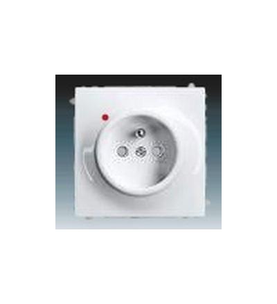 ABB Zásuvka jednonásobná s ochranným kolíkem, s clonkami, s ochranou před přepětím alpská bílá 5599B-A0235774