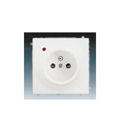 ABB Zásuvka jednonásobná s ochranným kolíkem, s clonkami, s ochranou před přepětím mechová bílá 5599B-A02357774