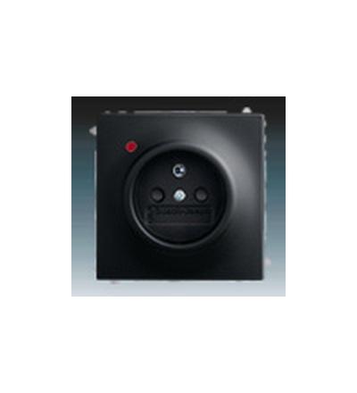 ABB Zásuvka jednonásobná s ochranným kolíkem, s clonkami, s ochranou před přepětím mechová černá 5599B-A02357775