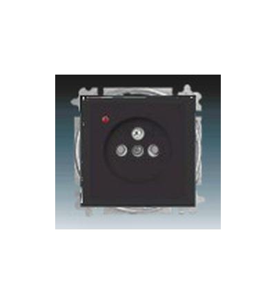 ABB Zásuvka jednonásobná s ochranným kolíkem, s clonkami, s ochranou před přepětím antracitová 5599B-A0235781