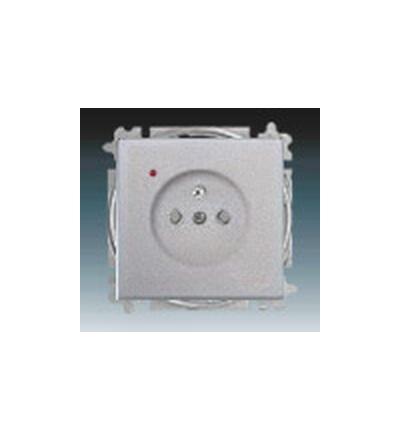 ABB Zásuvka jednonásobná s ochranným kolíkem, s clonkami, s ochranou před přepětím hliníková stříbrná 5599B-A0235783