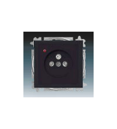 ABB Zásuvka jednonásobná s ochranným kolíkem, s clonkami, s ochranou před přepětím mechová černá 5599B-A02357885