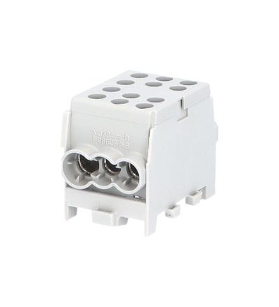 Svorkovnice rozbočovací HLAK 35-1/4 M2 GR, 100A, 1pól., AL/CU, IP20, šedá, na DIN /2080178, ELEMAN 1000327