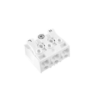 Svorkovnice SLK 3/3 (N-E-L) pro svítidla, bezšroubová, PC, bílá /, ELEMAN 1000411
